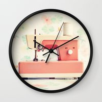 sewing Wall Clocks featuring Sewing Machine by Caroline Mint