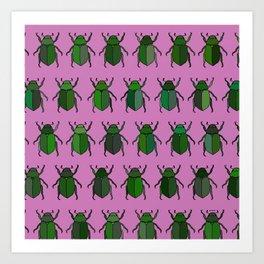 Beetle Print - Pink Art Print