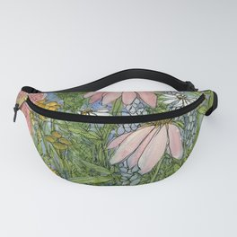 Garden Flowers Bee Blue Sky Nature Art Floral Watercolor Print Fanny Pack