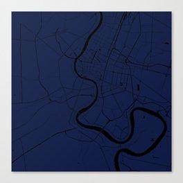 Bangkok Thailand Minimal Street Map - Navy Blue and Black Canvas Print