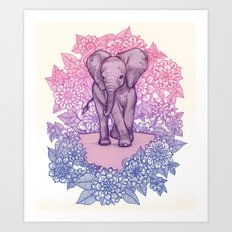 Cute Baby Elephant in pink, purple & blue Art Print