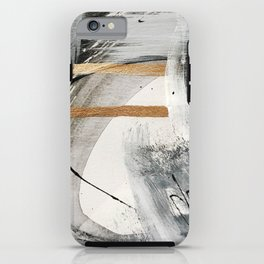 Armor [7]: a bold minimal abstract mixed media piece in gold, black and white iPhone Case