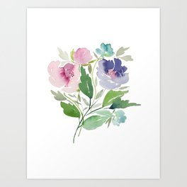Purple and Pink Peonies Art Print