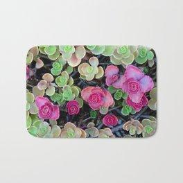 Pistachio and Raspberry Succulents Bath Mat