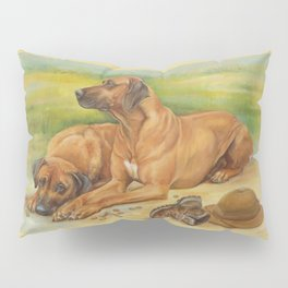 Rhodesian Ridgeback Dog portrait in scenic landscape Painting Pillow Sham