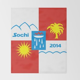 Sochi 2014 flag - Authentic version Throw Blanket