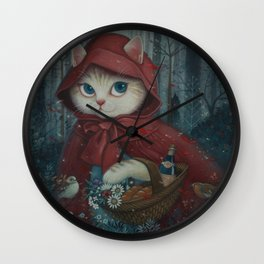 Little Red Riding Hood (Cat Edition) Wall Clock