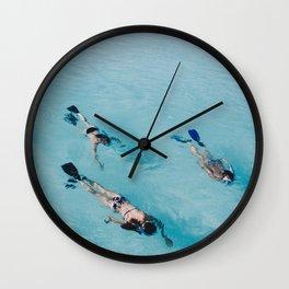 swimming in ocean Wall Clock