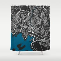 oslo Shower Curtains featuring Oslo city map black colour by MCartography