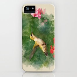 Hummingbird Watercolor Painting iPhone Case