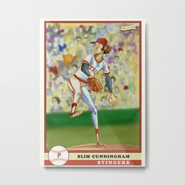 Slim Cunningham Baseball Card by michael white of fab-ri-cate Metal Print