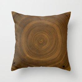 Detailed rich dark brown wood tree rings pattern Throw Pillow