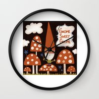 gnome Wall Clocks featuring Gnome Sweet Gnome by kelbug studio