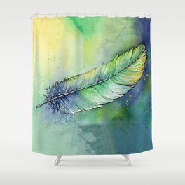 Quill Feather Watercolor Shower Curtain