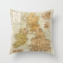 Vintage Map of Great Britain and Ireland, 1947 Throw Pillow