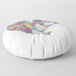 Colorful Paw Heart Funny Animal Pawprint Veterinarian Humor Pun Design Floor Pillow