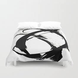 Brushstroke 7: a minimal, abstract, black and white piece Duvet Cover