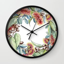 Floral Christmas Wreath, Illustration Wall Clock