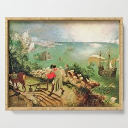 Landscape With The Fall Of Icarus Painting Pieter Bruegel The Elder Serving Tray