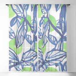 Blue and lime green abstract apple tree Sheer Curtain