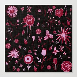 Pink and black floral with wild roses Canvas Print