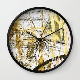 Armor [11]: a bold, elegant abstract mixed media piece in gold pink black and white Wall Clock