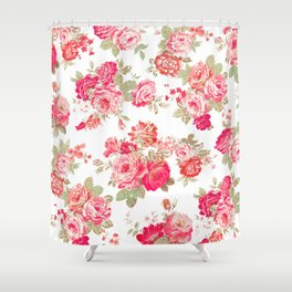 Elise shabby chic on white Shower Curtain