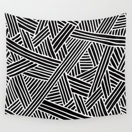 Abstract black & white Lines and Triangles Pattern - Mix and Match with Simplicity of Life Wall Tapestry