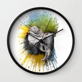 blue parrot bird Wall Clock