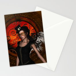 Wonderful steampunk lady with wings and hat Stationery Cards