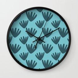 Modern Bold Blue Leaf Botanical Wall Clock