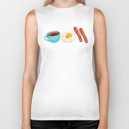 Coffee, Bacon & Eggs Pattern - Yellow Check Biker Tank