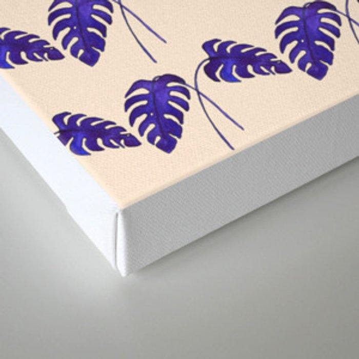 Indigo Monstera Leaf Watercolor on Blush Canvas Print