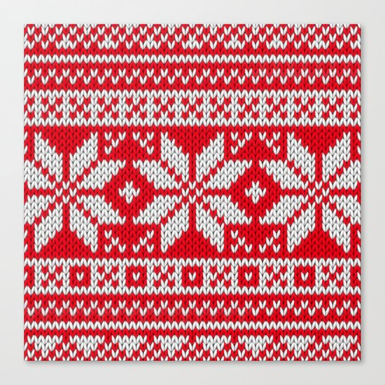 Winter knitted pattern 3 Canvas Print