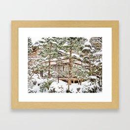 Japanese Temple in Winter Framed Art Print