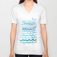 swim V-neck T-shirts featuring Swim by Rebecca Pomroy