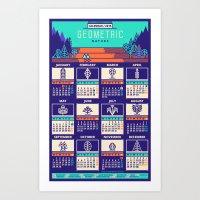 calendar 2015 Art Prints featuring Calendar 2015 / Geometric Nature by Adline / Szende Brassai