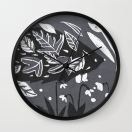 Hedgehog in Autumn Woods - Gray Palette Wall Clock