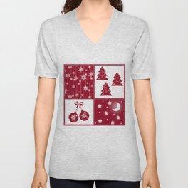 Bright red and white Christmas background Unisex V-Neck