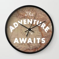 Wall Clocks featuring Adventure Awaits by Zach Terrell
