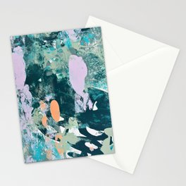 Sugar and Flowers: a pretty abstract acrylic painting in blues greens and lavender  Stationery Cards
