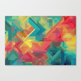 1990s Inspired Geometric Color Palette // VIBRANT ABSTRACT MULTI GRAPHIC Canvas Print