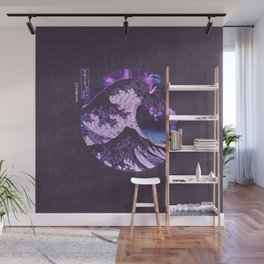 The Great Wave off Kanagawa Black and Purple Wall Mural