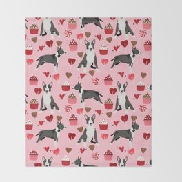 Bull Terrier valentines day love cupcakes hears dog breed pet friendly gifts Throw Blanket