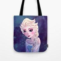 frozen elsa Tote Bags featuring Elsa Frozen by Kaori