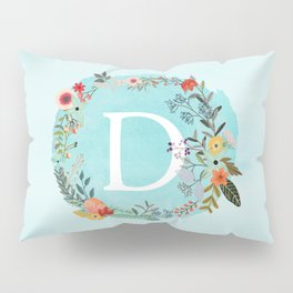 Personalized Monogram Initial Letter D Blue Watercolor Flower Wreath Artwork Pillow Sham