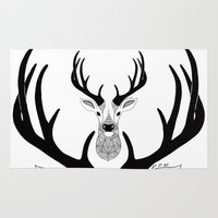 deer Area & Throw Rugs featuring Deer by Art & Be