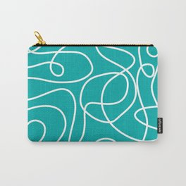 Doodle Line Art   White Lines on Teal Green Carry-All Pouch