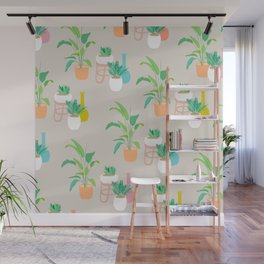 Pretty tropical plant pattern on taupe Wall Mural