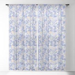 Underground Flowers Blue Sheer Curtain